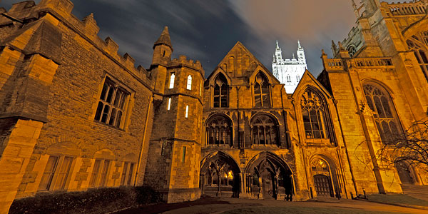 Gloucester Cathedral by night