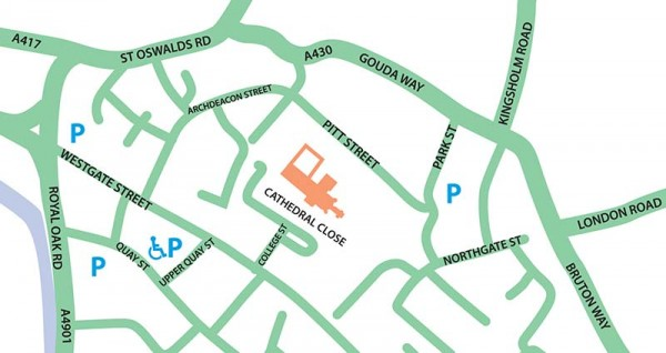 Gloucester Cathedral parking map